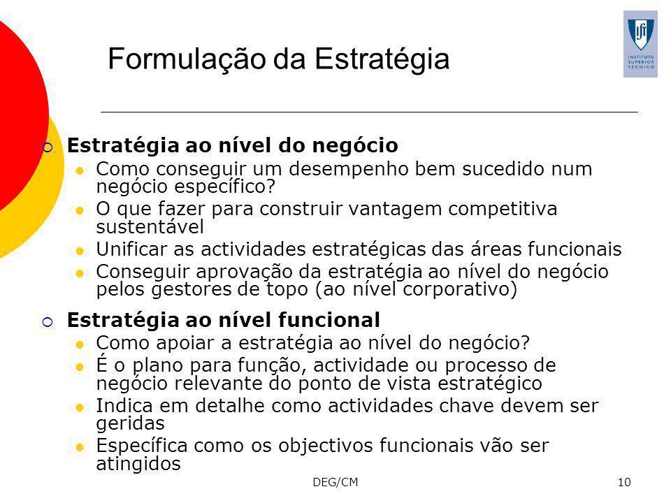 DEG/CM10 Formulação da Estratégia Estratégia ao nível do negócio Como conseguir um desempenho bem sucedido num negócio específico.
