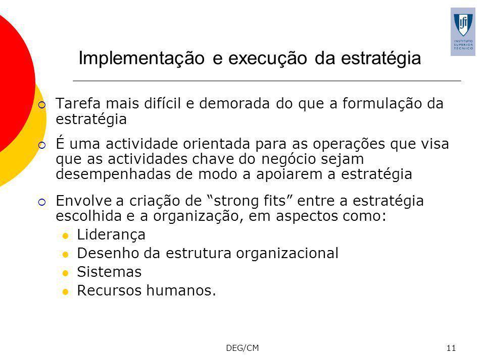DEG/CM11 Implementação e execução da estratégia Tarefa mais difícil e demorada do que a formulação da estratégia É uma actividade orientada para as operações que visa que as actividades chave do negócio sejam desempenhadas de modo a apoiarem a estratégia Envolve a criação de strong fits entre a estratégia escolhida e a organização, em aspectos como: Liderança Desenho da estrutura organizacional Sistemas Recursos humanos.