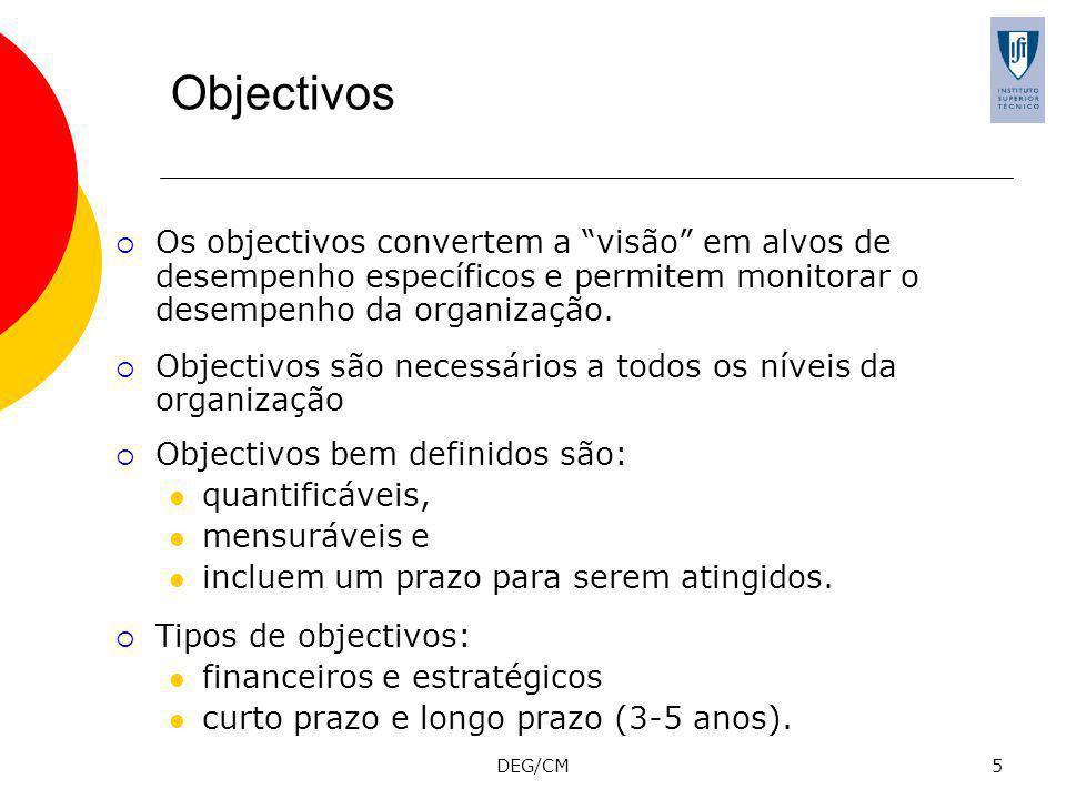 DEG/CM5 Objectivos Os objectivos convertem a visão em alvos de desempenho específicos e permitem monitorar o desempenho da organização.