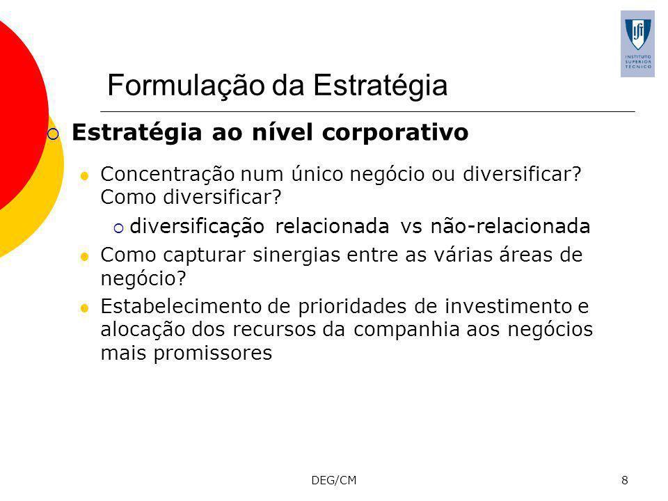 DEG/CM19 Estratégias genéricas competitivas Porter (1980) sugere que as empresas devem escolher uma entre as quatro estratégias genéricas ao nível do negócio, de modo a obterem vantagens competitivas: Estratégia de baixo-custo Estratégia de diferenciação Estratégia de nicho ou foco (apenas um segmento de mercado) Baixo-custo Diferenciação A tentativa de perseguir ao mesmo tempo uma estratégia de diferenciação e de baixo-custo não permitiria obter vantagem competitiva sustentável e a empresa acabaria por ficar stuck in the middle.