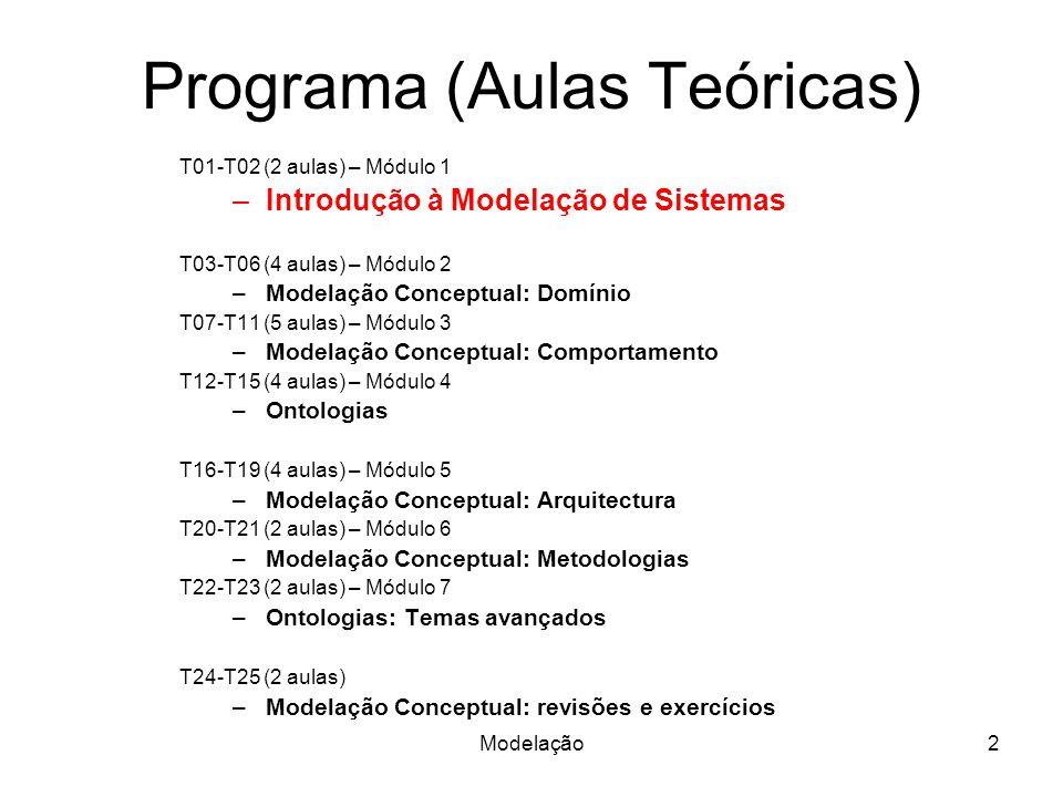 Modelação2 Programa (Aulas Teóricas) T01-T02 (2 aulas) – Módulo 1 –Introdução à Modelação de Sistemas T03-T06 (4 aulas) – Módulo 2 –Modelação Conceptual: Domínio T07-T11 (5 aulas) – Módulo 3 –Modelação Conceptual: Comportamento T12-T15 (4 aulas) – Módulo 4 –Ontologias T16-T19 (4 aulas) – Módulo 5 –Modelação Conceptual: Arquitectura T20-T21 (2 aulas) – Módulo 6 –Modelação Conceptual: Metodologias T22-T23 (2 aulas) – Módulo 7 –Ontologias: Temas avançados T24-T25 (2 aulas) –Modelação Conceptual: revisões e exercícios