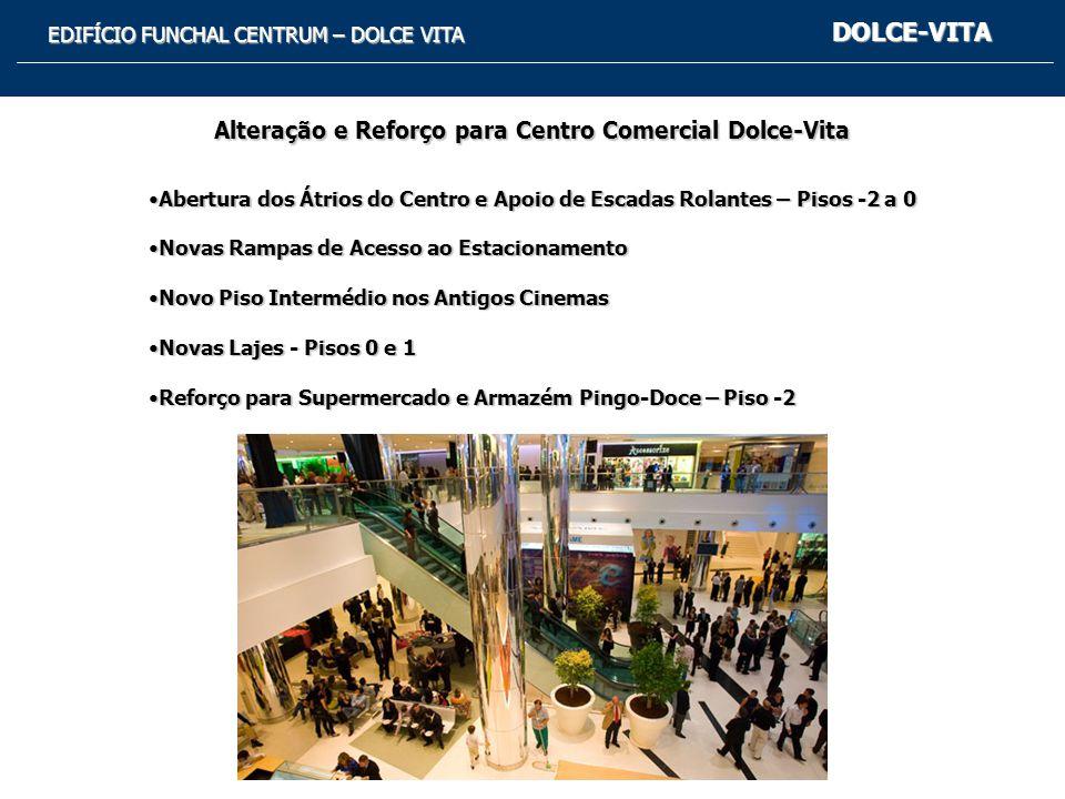 EDIFÍCIO FUNCHAL CENTRUM – DOLCE VITA DOLCE-VITA Alteração e Reforço para Centro Comercial Dolce-Vita Abertura dos Átrios do Centro e Apoio de Escadas Rolantes – Pisos -2 a 0Abertura dos Átrios do Centro e Apoio de Escadas Rolantes – Pisos -2 a 0 Novas Rampas de Acesso ao EstacionamentoNovas Rampas de Acesso ao Estacionamento Novo Piso Intermédio nos Antigos CinemasNovo Piso Intermédio nos Antigos Cinemas Novas Lajes - Pisos 0 e 1Novas Lajes - Pisos 0 e 1 Reforço para Supermercado e Armazém Pingo-Doce – Piso -2Reforço para Supermercado e Armazém Pingo-Doce – Piso -2