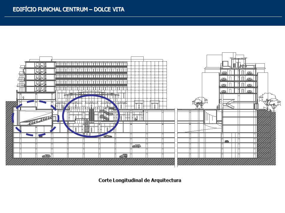 EDIFÍCIO FUNCHAL CENTRUM – DOLCE VITA PRINCIPAIS CARACTERÍSTICAS DESCRIÇÃO GLOBAL Implantação 110m X 80m Área Construção 100.000 m2 Pisos Enterrados – Estacionamento Pisos Superiores- Escritórios (Pisos -6 a 0) (Pisos 1 a 6)- Habitação - Hotel De Luxo