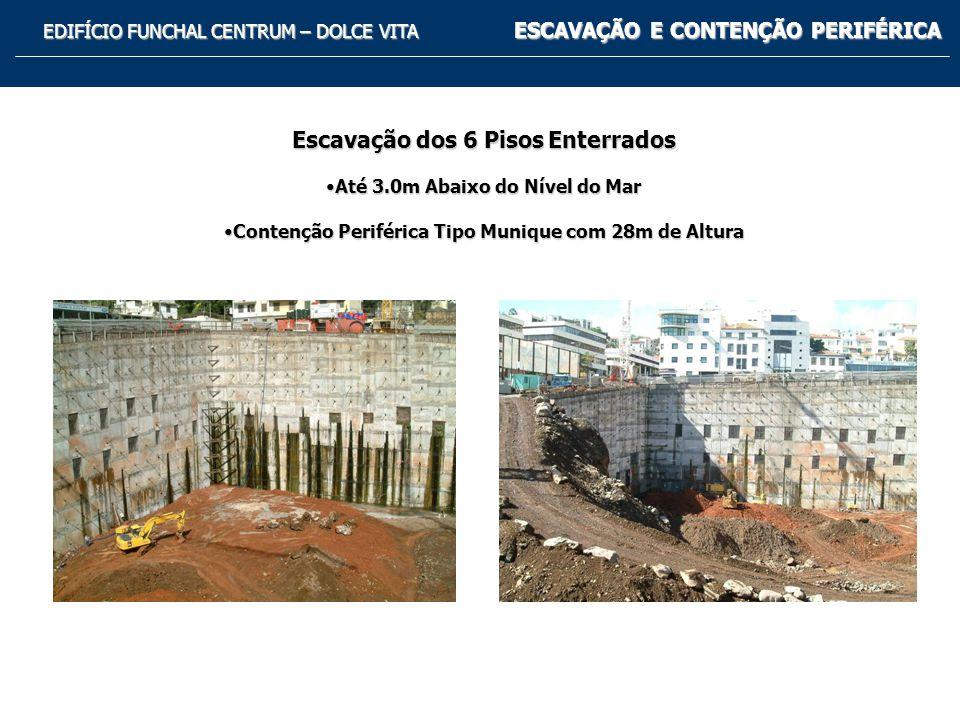 EDIFÍCIO FUNCHAL CENTRUM – DOLCE VITA ESCAVAÇÃO E CONTENÇÃO PERIFÉRICA Perfil Tipo da Escavação e das Fundações Indirectas em Colunas de Jet-Grouting