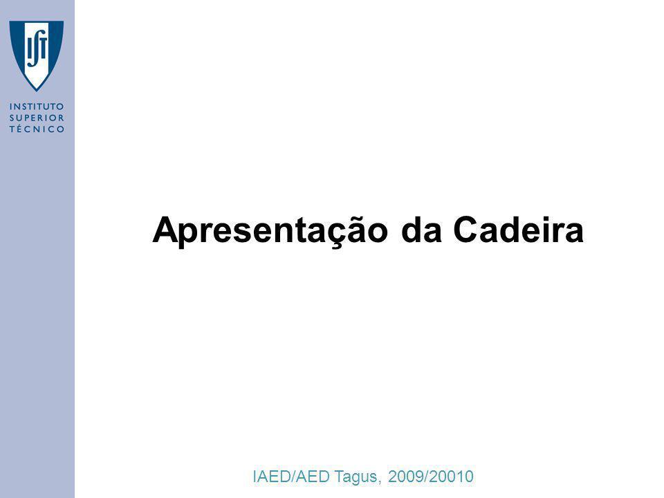IAED/AED Tagus, 2009/20010 2 Docentes Aulas Teóricas –Vasco Manquinho (responsável) Aulas de Laboratório –Ana Matos –César Pimentel –Joel Sacramento –Joana Campos –Outro docente a definir...