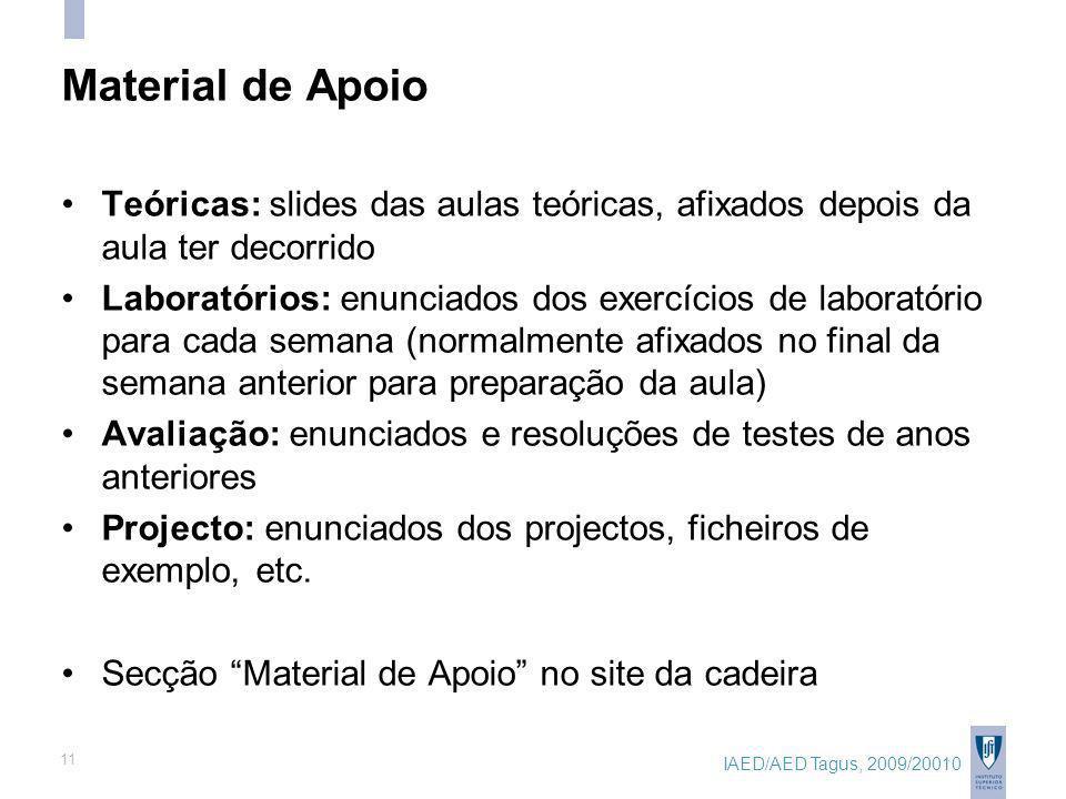 IAED/AED Tagus, 2009/20010 11 Material de Apoio Teóricas: slides das aulas teóricas, afixados depois da aula ter decorrido Laboratórios: enunciados do