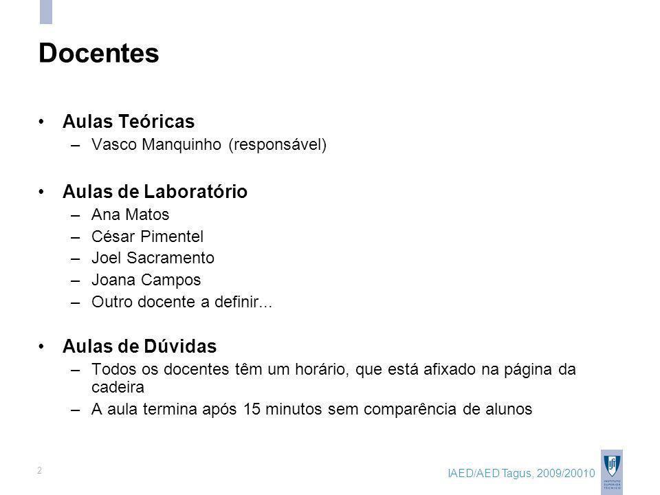 IAED/AED Tagus, 2009/20010 2 Docentes Aulas Teóricas –Vasco Manquinho (responsável) Aulas de Laboratório –Ana Matos –César Pimentel –Joel Sacramento –