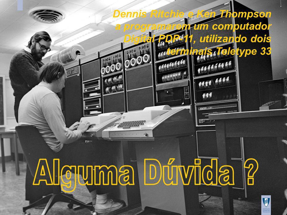 IAED/AED Tagus, 2009/20010 24 Dennis Ritchie e Ken Thompson a programarem um computador Digital PDP-11, utilizando dois terminais Teletype 33