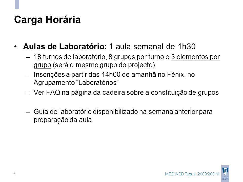 IAED/AED Tagus, 2009/20010 4 Carga Horária Aulas de Laboratório: 1 aula semanal de 1h30 –18 turnos de laboratório, 8 grupos por turno e 3 elementos por grupo (será o mesmo grupo do projecto) –Inscrições a partir das 14h00 de amanhã no Fénix, no Agrupamento Laboratórios –Ver FAQ na página da cadeira sobre a constituição de grupos –Guia de laboratório disponibilizado na semana anterior para preparação da aula