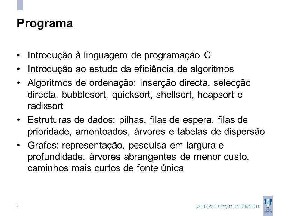 IAED/AED Tagus, 2009/20010 5 Programa Introdução à linguagem de programação C Introdução ao estudo da eficiência de algoritmos Algoritmos de ordenação