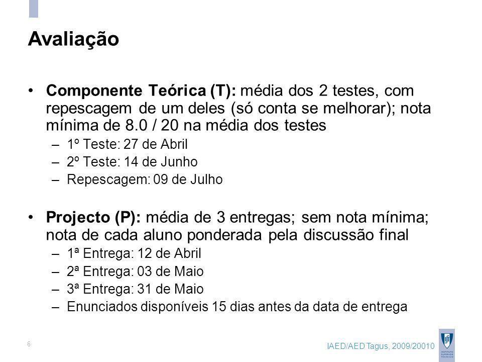 IAED/AED Tagus, 2009/20010 6 Avaliação Componente Teórica (T): média dos 2 testes, com repescagem de um deles (só conta se melhorar); nota mínima de 8.0 / 20 na média dos testes –1º Teste: 27 de Abril –2º Teste: 14 de Junho –Repescagem: 09 de Julho Projecto (P): média de 3 entregas; sem nota mínima; nota de cada aluno ponderada pela discussão final –1ª Entrega: 12 de Abril –2ª Entrega: 03 de Maio –3ª Entrega: 31 de Maio –Enunciados disponíveis 15 dias antes da data de entrega
