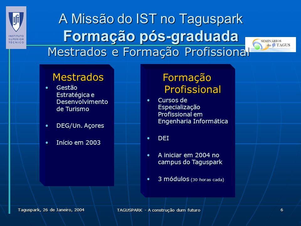 Taguspark, 26 de Janeiro, 2004 TAGUSPARK - A construção dum futuro 7 A Missão do IST no Taguspark Relação com as Empresas Abordagens possíveis A- O que é que o IST pode oferecer às empresas .