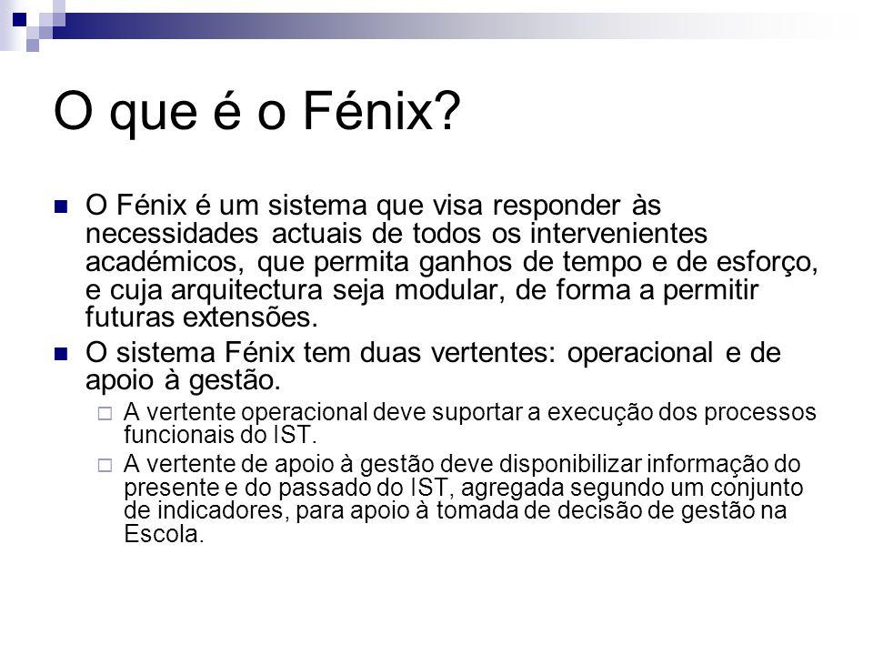 O que é o Fénix? O Fénix é um sistema que visa responder às necessidades actuais de todos os intervenientes académicos, que permita ganhos de tempo e