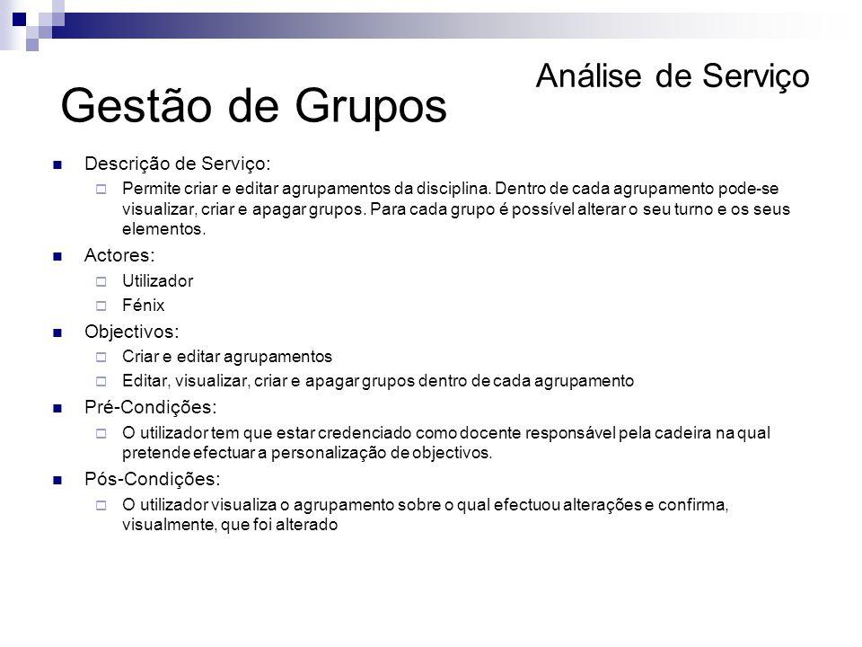 Análise de Serviço Descrição de Serviço: Permite criar e editar agrupamentos da disciplina. Dentro de cada agrupamento pode-se visualizar, criar e apa