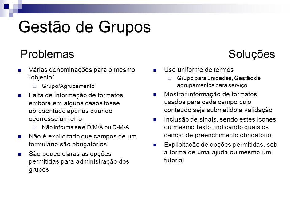 Várias denominações para o mesmo objecto Grupo/Agrupamento Falta de informação de formatos, embora em alguns casos fosse apresentado apenas quando oco