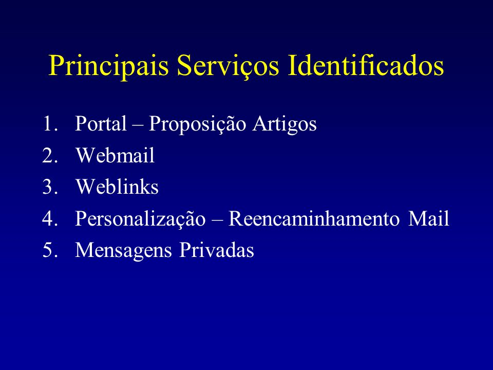 Principais Serviços Identificados 1.Portal – Proposição Artigos 2.Webmail 3.Weblinks 4.Personalização – Reencaminhamento Mail 5.Mensagens Privadas