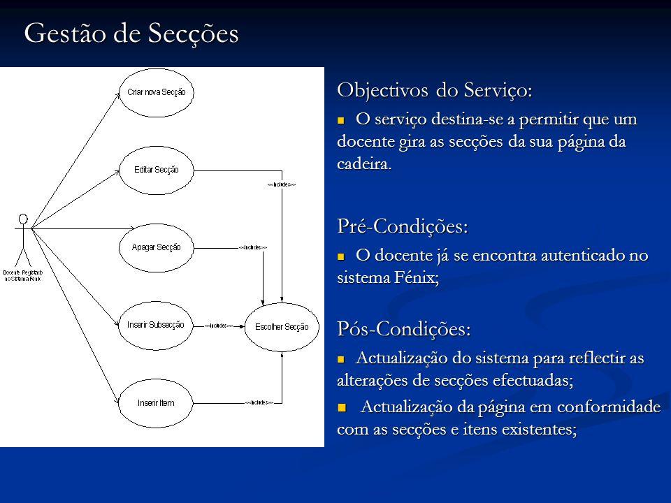 Gestão de Secções Objectivos do Serviço: O serviço destina-se a permitir que um docente gira as secções da sua página da cadeira. O serviço destina-se