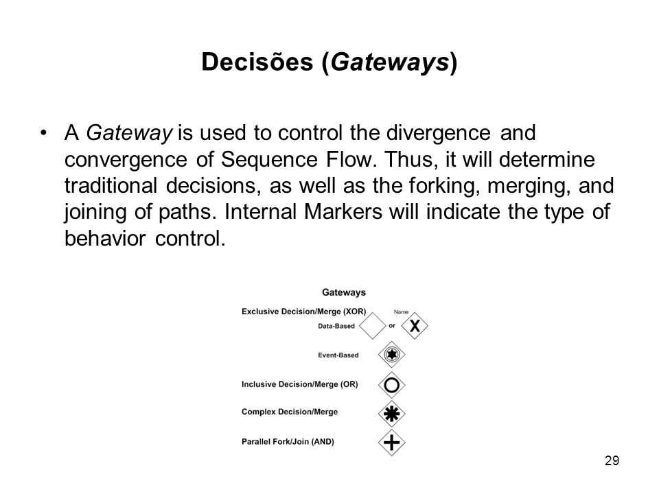 Decisões (Gateways) A Gateway is used to control the divergence and convergence of Sequence Flow. Thus, it will determine traditional decisions, as we