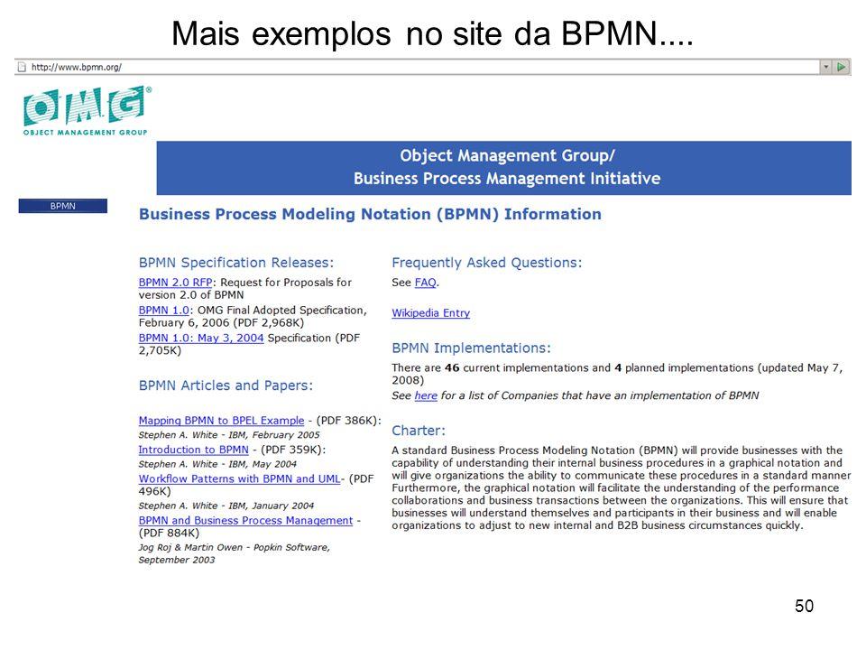 Mais exemplos no site da BPMN.... 50
