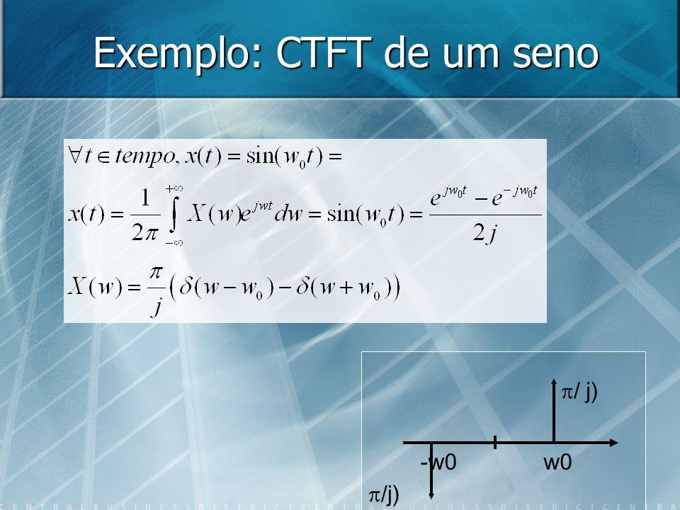 Exemplo: CTFT de um seno w0-w0 / j)