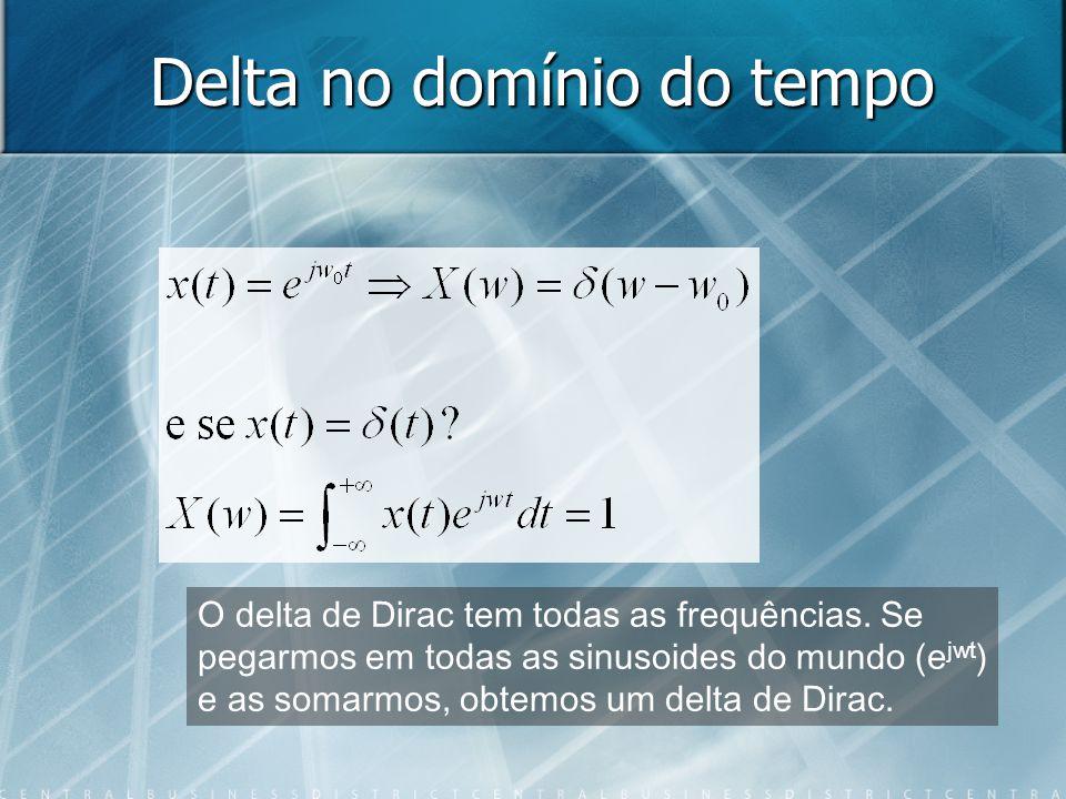 Delta no domínio do tempo O delta de Dirac tem todas as frequências. Se pegarmos em todas as sinusoides do mundo (e jwt ) e as somarmos, obtemos um de