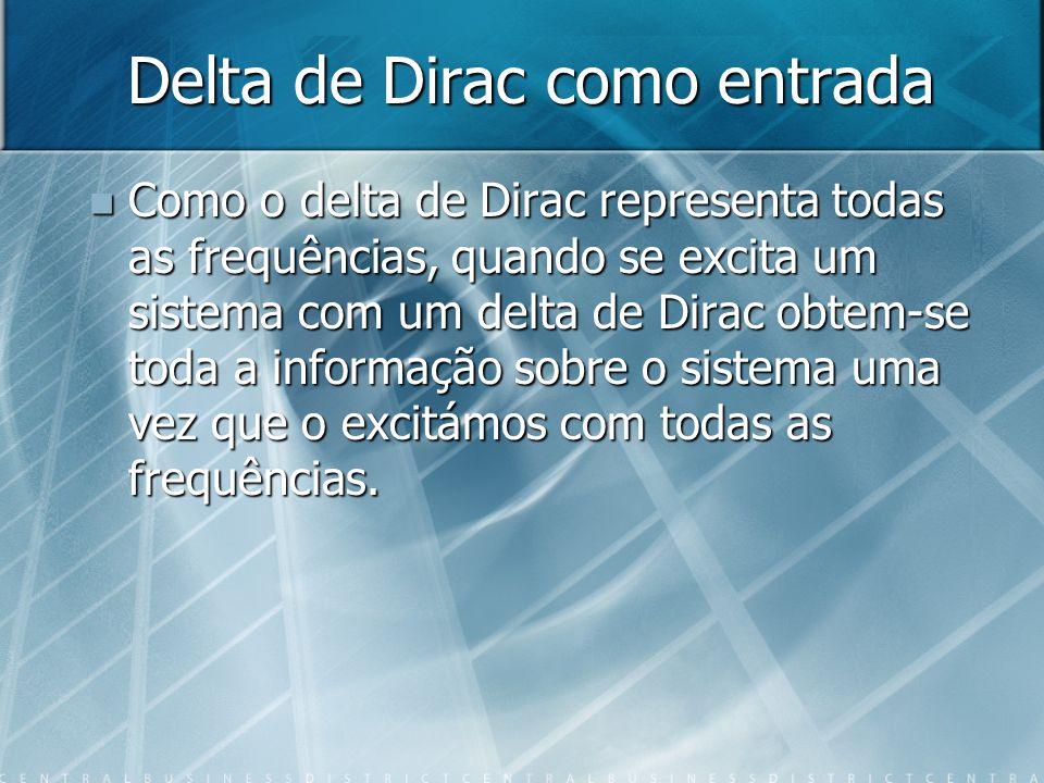 Delta de Dirac como entrada Como o delta de Dirac representa todas as frequências, quando se excita um sistema com um delta de Dirac obtem-se toda a informação sobre o sistema uma vez que o excitámos com todas as frequências.