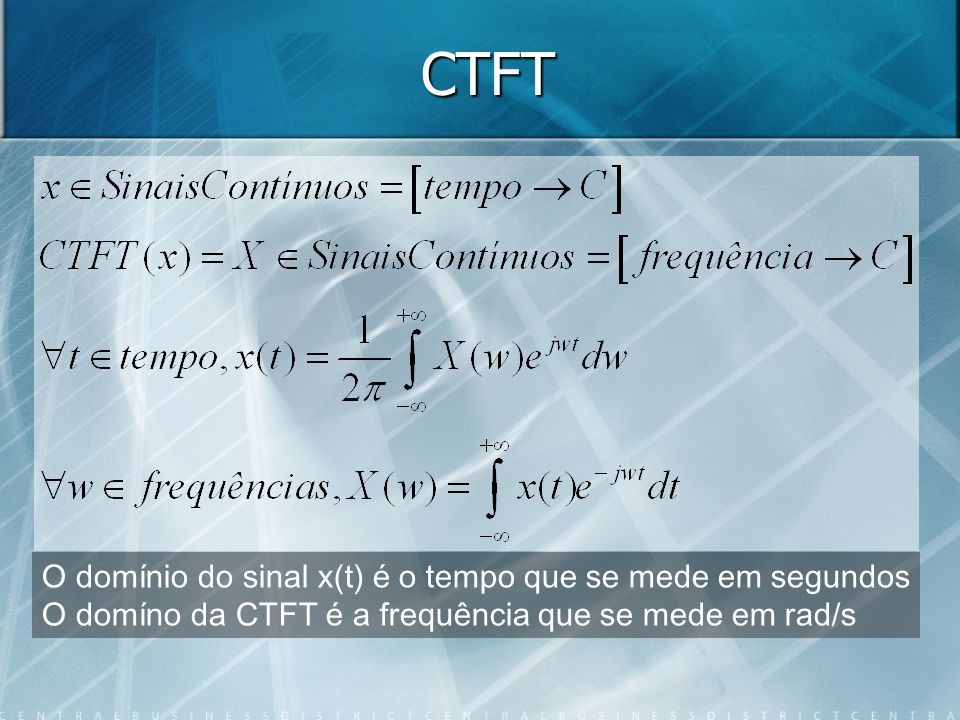 Analogamente -a a /a x(t) X(w) Se considerarmos que um sistema tem como resposta impulsiva X(t) então a sua resposta em frequência seria x(w) (a menos uma simetria e um factor 2pi), pelo que um filtro passa-baixo ideal é não causal (em tempo real É impossível realizar um filtro passa-baixo ideal (sobre os dados de um ficheiro já seria possível)