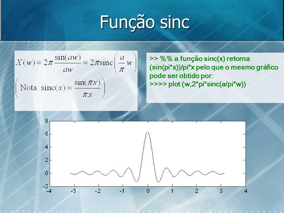 Função sinc >> % a função sinc(x) retorna (sin(pi*x))/pi*x pelo que o mesmo gráfico pode ser obtido por: >>>> plot (w,2*pi*sinc(a/pi*w))