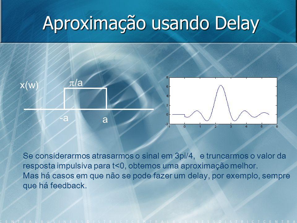 Aproximação usando Delay -a a /a x(w) X(w) Se considerarmos atrasarmos o sinal em 3pi/4, e truncarmos o valor da resposta impulsiva para t<0, obtemos uma aproximação melhor.