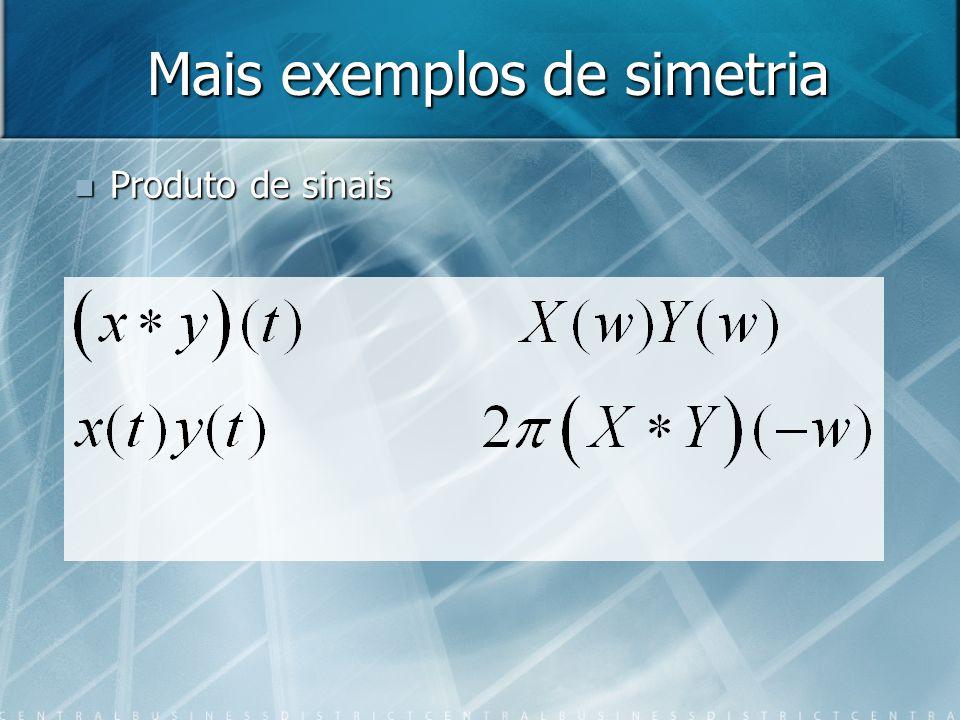 Mais exemplos de simetria Produto de sinais Produto de sinais