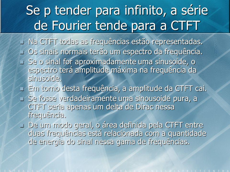 Se p tender para infinito, a série de Fourier tende para a CTFT Na CTFT todas as frequências estão representadas. Na CTFT todas as frequências estão r