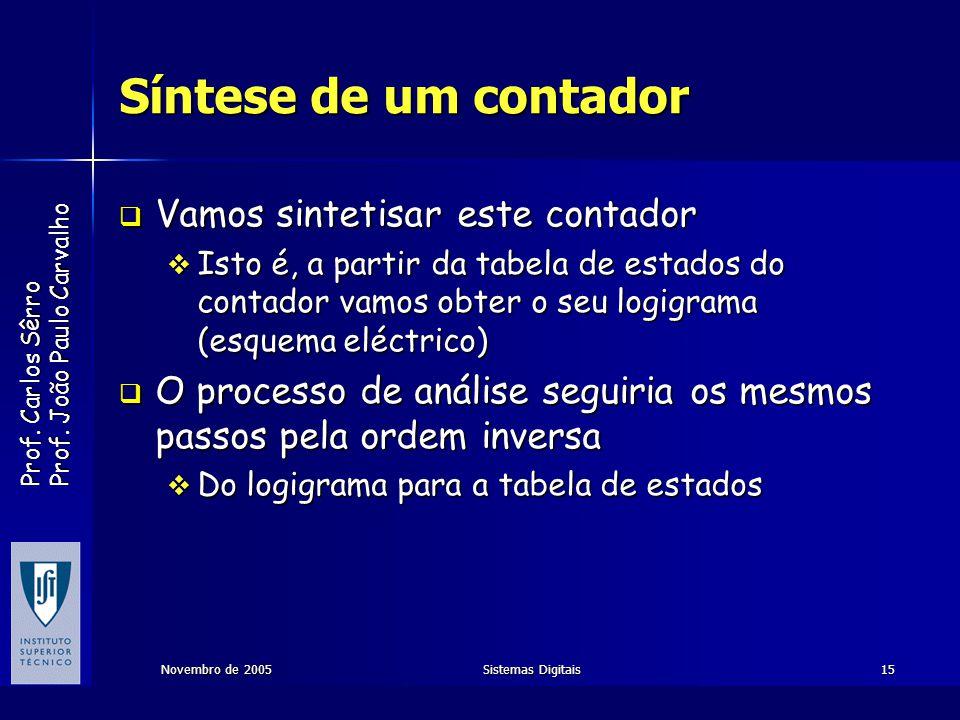 Prof. Carlos Sêrro Prof. João Paulo Carvalho Novembro de 2005Sistemas Digitais15 Síntese de um contador Vamos sintetisar este contador Vamos sintetisa