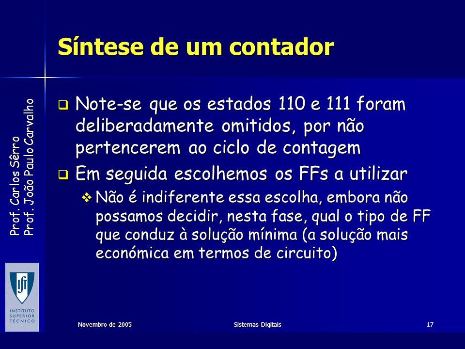 Prof. Carlos Sêrro Prof. João Paulo Carvalho Novembro de 2005Sistemas Digitais17 Síntese de um contador Note-se que os estados 110 e 111 foram deliber