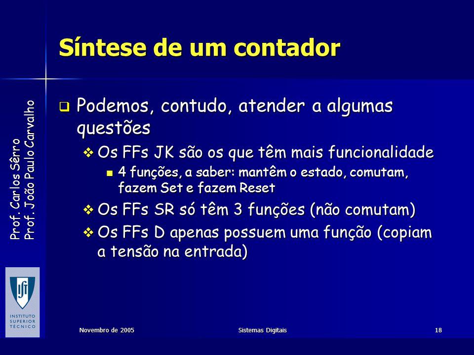 Prof. Carlos Sêrro Prof. João Paulo Carvalho Novembro de 2005Sistemas Digitais18 Síntese de um contador Podemos, contudo, atender a algumas questões P