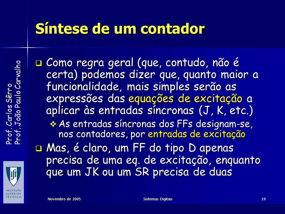 Prof. Carlos Sêrro Prof. João Paulo Carvalho Novembro de 2005Sistemas Digitais19 Síntese de um contador Como regra geral (que, contudo, não é certa) p