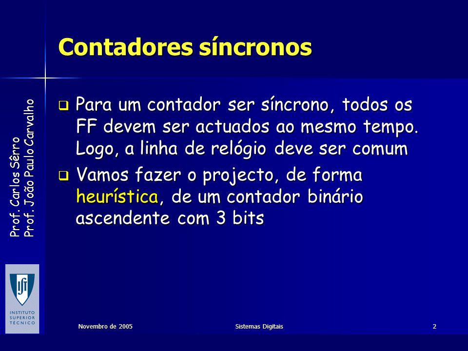 Prof. Carlos Sêrro Prof. João Paulo Carvalho Novembro de 2005Sistemas Digitais2 Contadores síncronos Para um contador ser síncrono, todos os FF devem