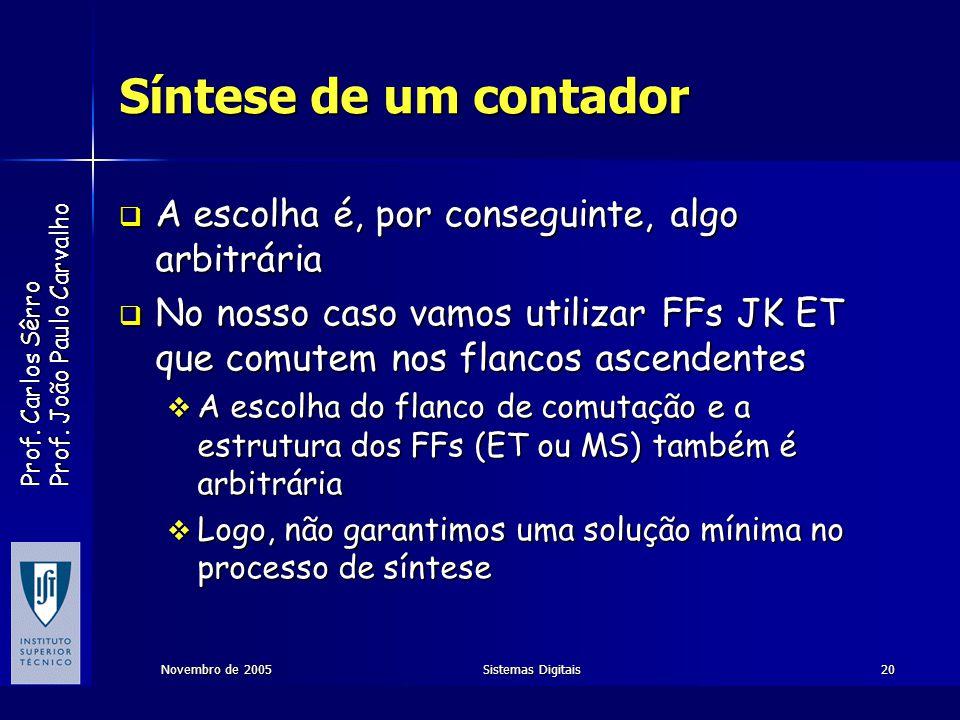 Prof. Carlos Sêrro Prof. João Paulo Carvalho Novembro de 2005Sistemas Digitais20 Síntese de um contador A escolha é, por conseguinte, algo arbitrária