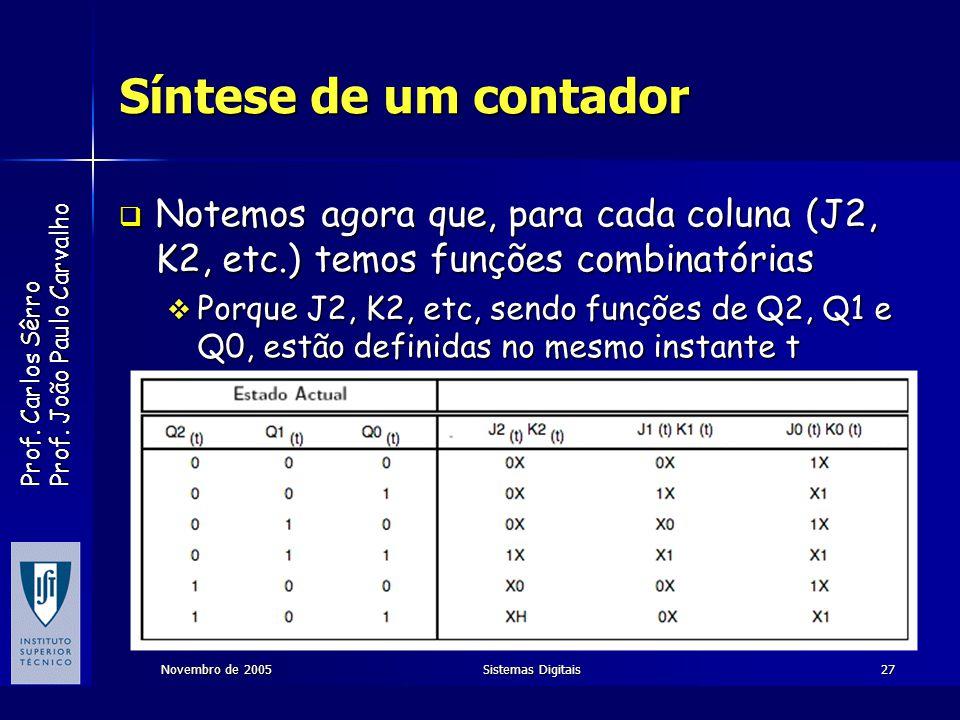 Prof. Carlos Sêrro Prof. João Paulo Carvalho Novembro de 2005Sistemas Digitais27 Síntese de um contador Notemos agora que, para cada coluna (J2, K2, e