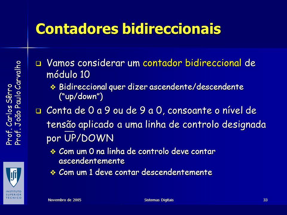 Prof. Carlos Sêrro Prof. João Paulo Carvalho Novembro de 2005Sistemas Digitais33 Contadores bidireccionais Vamos considerar um contador bidireccional