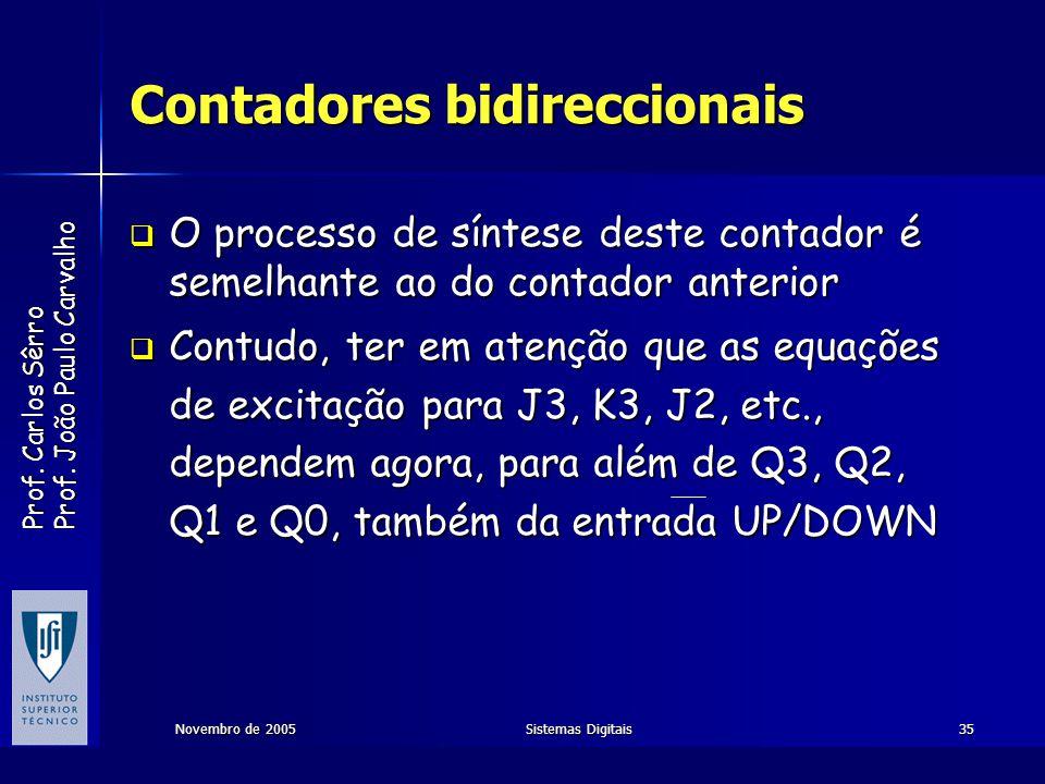 Prof. Carlos Sêrro Prof. João Paulo Carvalho Novembro de 2005Sistemas Digitais35 Contadores bidireccionais O processo de síntese deste contador é seme