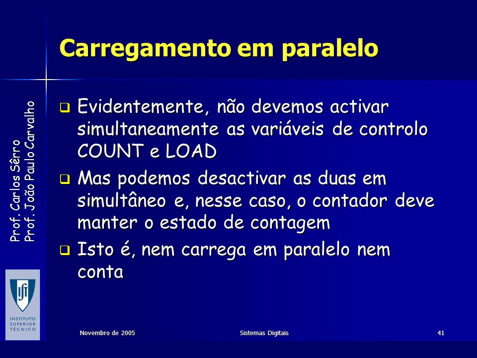 Prof. Carlos Sêrro Prof. João Paulo Carvalho Novembro de 2005Sistemas Digitais41 Carregamento em paralelo Evidentemente, não devemos activar simultane