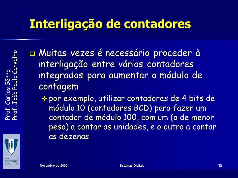 Prof. Carlos Sêrro Prof. João Paulo Carvalho Novembro de 2005Sistemas Digitais52 Interligação de contadores Muitas vezes é necessário proceder à inter