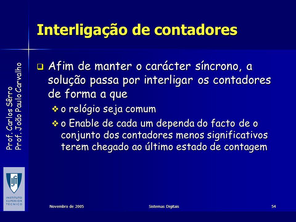 Prof. Carlos Sêrro Prof. João Paulo Carvalho Novembro de 2005Sistemas Digitais54 Interligação de contadores Afim de manter o carácter síncrono, a solu