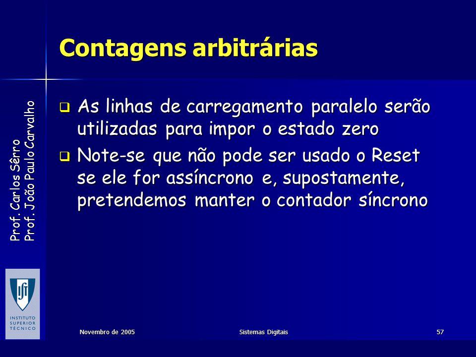Prof. Carlos Sêrro Prof. João Paulo Carvalho Novembro de 2005Sistemas Digitais57 Contagens arbitrárias As linhas de carregamento paralelo serão utiliz