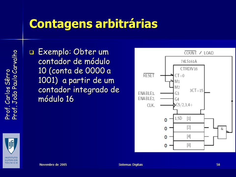 Prof. Carlos Sêrro Prof. João Paulo Carvalho Novembro de 2005Sistemas Digitais58 Contagens arbitrárias Exemplo: Obter um contador de módulo 10 (conta