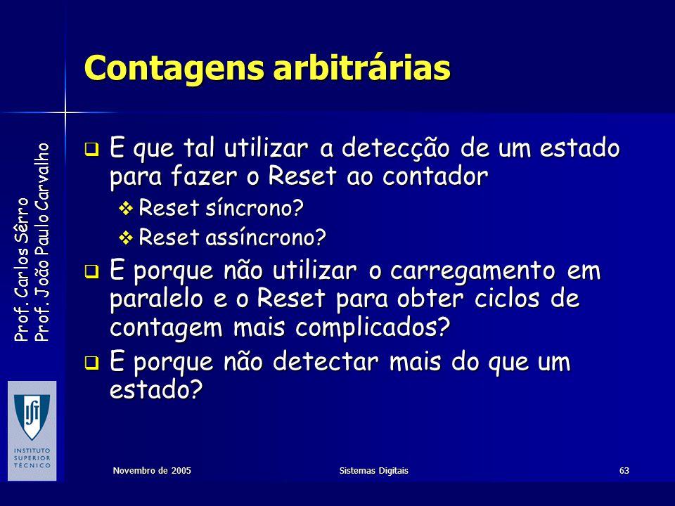 Prof. Carlos Sêrro Prof. João Paulo Carvalho Novembro de 2005Sistemas Digitais63 Contagens arbitrárias E que tal utilizar a detecção de um estado para