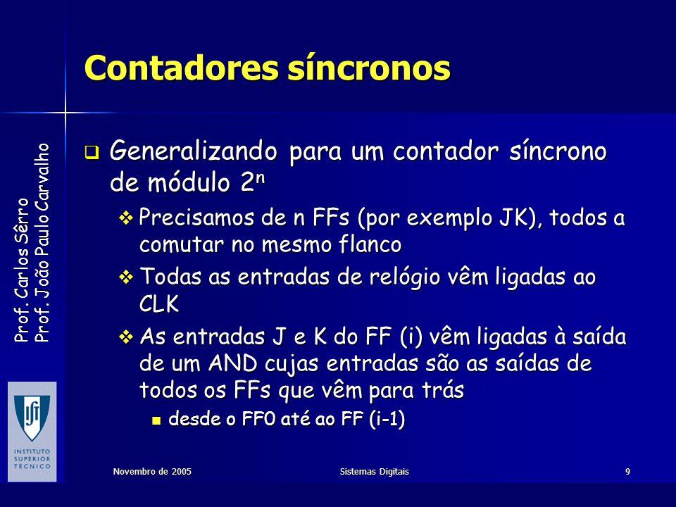 Prof. Carlos Sêrro Prof. João Paulo Carvalho Novembro de 2005Sistemas Digitais9 Contadores síncronos Generalizando para um contador síncrono de módulo