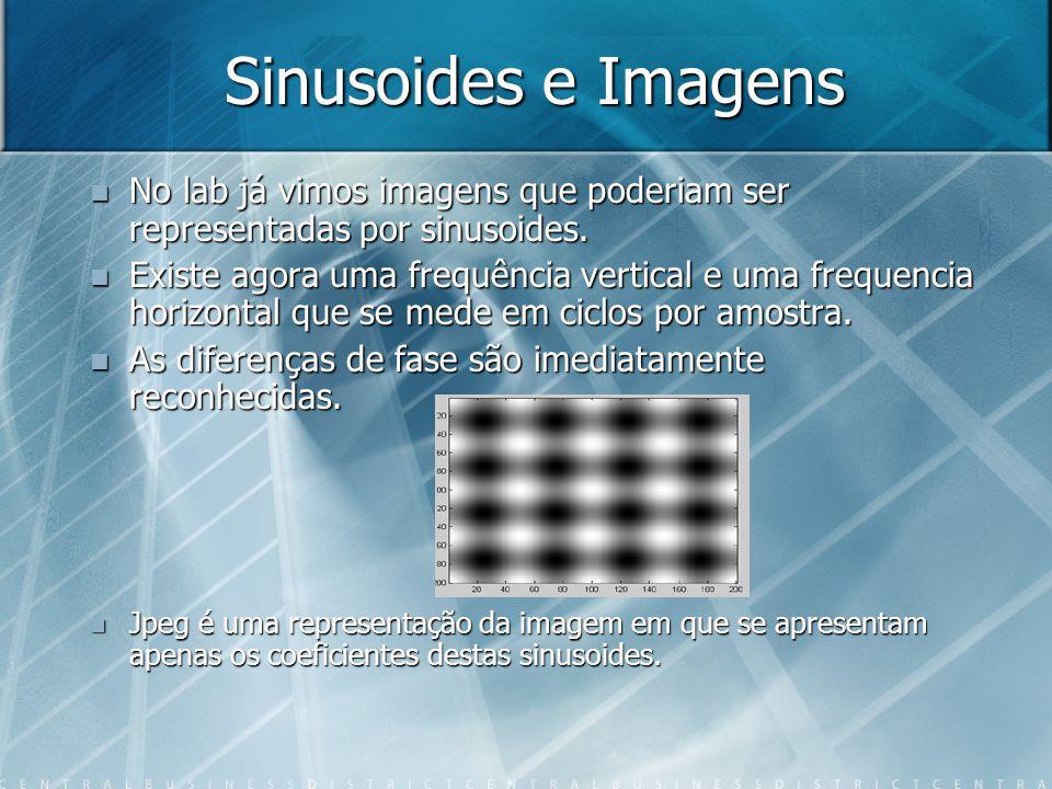 Sinusoides e Imagens No lab já vimos imagens que poderiam ser representadas por sinusoides.