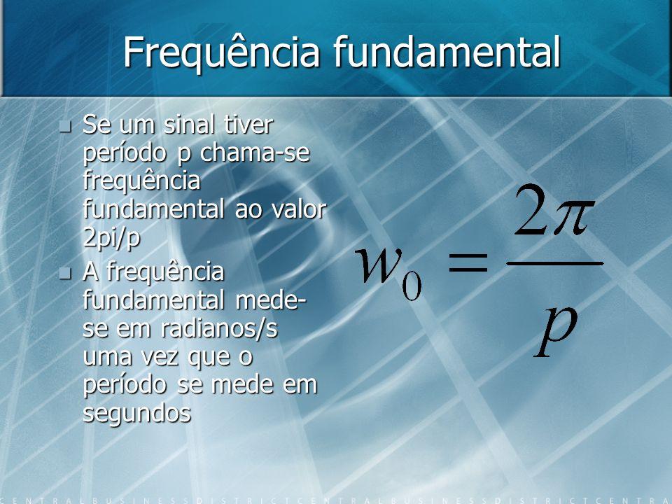 Frequência fundamental Se um sinal tiver período p chama-se frequência fundamental ao valor 2pi/p Se um sinal tiver período p chama-se frequência fundamental ao valor 2pi/p A frequência fundamental mede- se em radianos/s uma vez que o período se mede em segundos A frequência fundamental mede- se em radianos/s uma vez que o período se mede em segundos