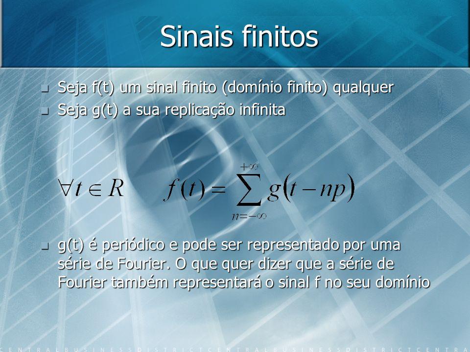 Sinais finitos Seja f(t) um sinal finito (domínio finito) qualquer Seja f(t) um sinal finito (domínio finito) qualquer Seja g(t) a sua replicação infinita Seja g(t) a sua replicação infinita g(t) é periódico e pode ser representado por uma série de Fourier.